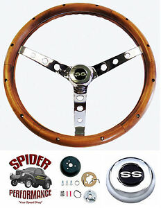 "1968 Camaro steering wheel SS CHROME BOWTIE 15"" WALNUT steering wheel kit"