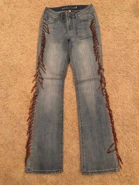 NEW Boston Proper Women's Light-Washed Jeans with Brown Beading on Sides Size 2