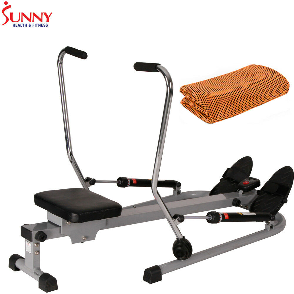 Sunny Health and Fitness 12 Level Resistance Rowing Machine Rower+Cooling Towel 1