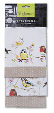 Cooksmart Dawn Chorus Birds Tea Towels Pack of 3 Kitchen Drying Cloth Cotton New