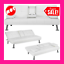 modern faux leather futon sofa bed fold up & down recliner couch white new