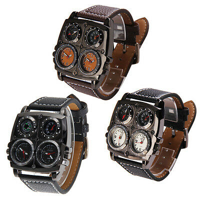 OULM Military Dual Time Compass Thermometer Quartz Watch Leather Sports Mens