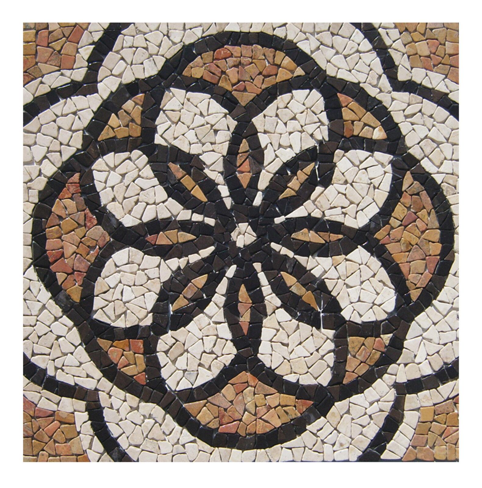 1 Marmor Mosaik Bild RO-002 - 90x90 cm Rosone - Mosaikfliesen Lager Herne NRW