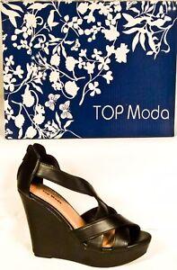 6e266615de08 Top Moda Ella-18 Womens Ladies Gladiator Wedge Heel Sandals Brand ...