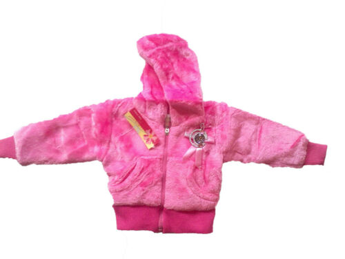 GIRLS JACKET-ZIPUP-HOODED-SOFT TOUCH WITH BADGE RIBBED ELASTICATED CUFFS-BNWT