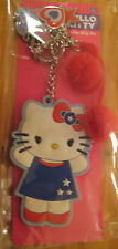 Hello Kitty Backpack Clip On Key Chain Red,White,& Blue Charms Pom-Poms