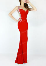 2015 CHEAP! RED Mermaid Womens Evening Party Gown Bridesmaid Long Prom Dresses