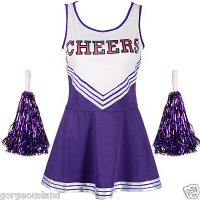 Varsity Cheer School Girl Cheerleader Uniform Fancy Dress Pom Poms us 10 12
