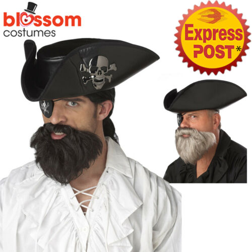 AC414 The Captain Pirate Sparrow Buccaneer Mens Costume Beard /& Moustache Set
