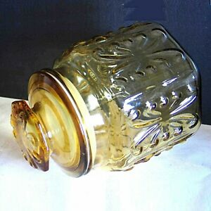 Imperial-Glass-Honey-Amber-Yellow-Canister-Atterbury-Scroll-Canister-Jar-FREE-SH
