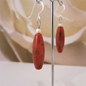 Ohrringe-Ohrhaenger-aus-Schaumkorallen-10x30mm-Tropfen-Rot-925er-Silber-TOP