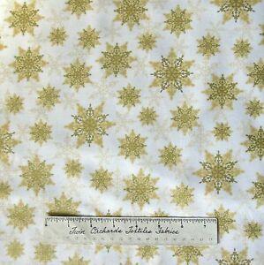 Christmas-Fabric-Holiday-Magic-Gold-Snowflake-Toss-on-Cream-Windham-YARD