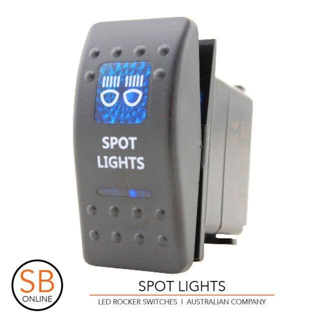 Rocker Switch SPOT LIGHTS - Blue - LED 4x4 Boat Caravan Marine 12v