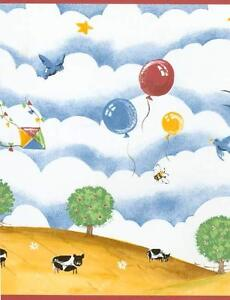 Image Is Loading Country Meadow Cow Sheep Kite Butterfly Bird Farm