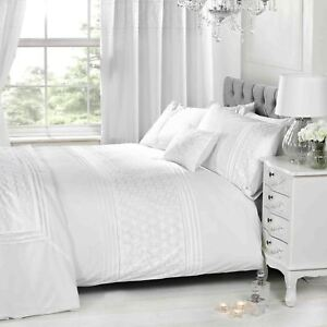 Everdean Floral Weiß Bettbezug & Kissenbezug Set Elegant - Einzel