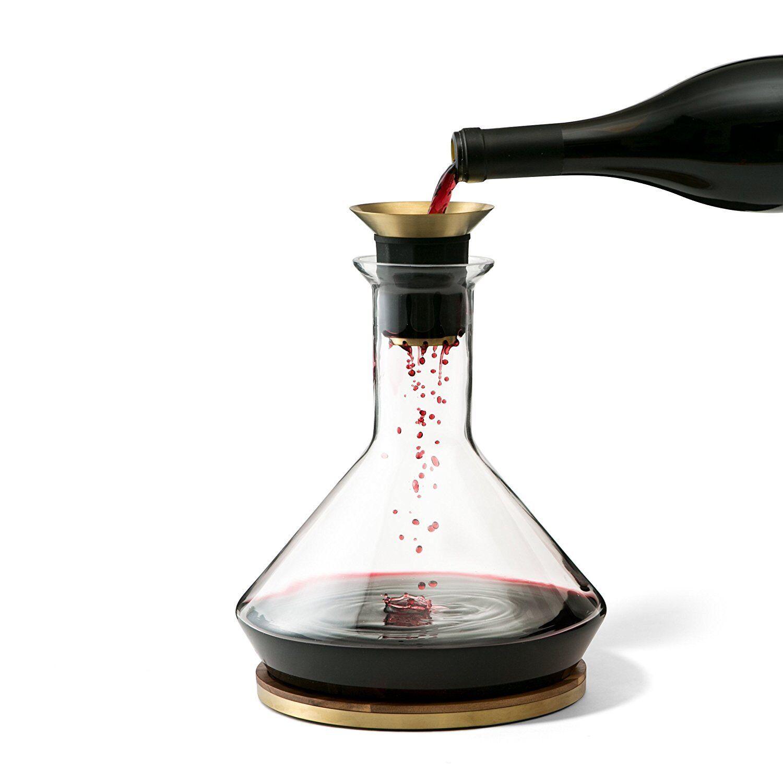 Rabbit RBT Wine Decanter Carafe Beaker w  Wood Coaster Micro-Perforated Aerator