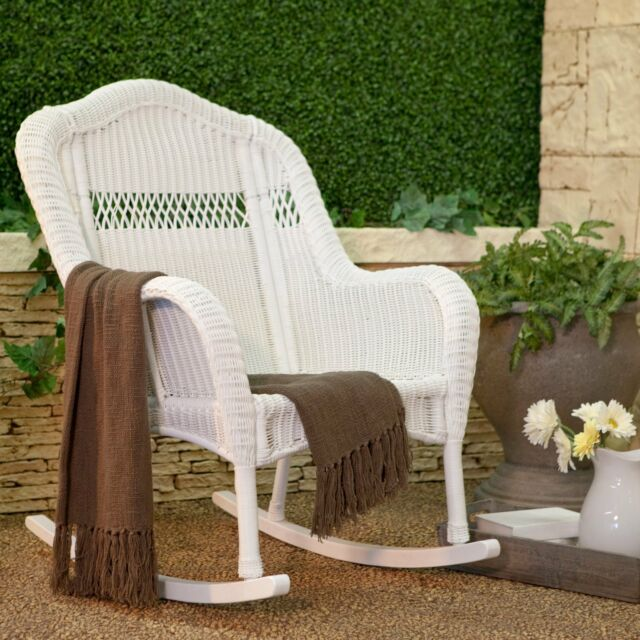 South Bay Traditional White Wicker Rocking Chair Patio Porch Rocker Outdoor New
