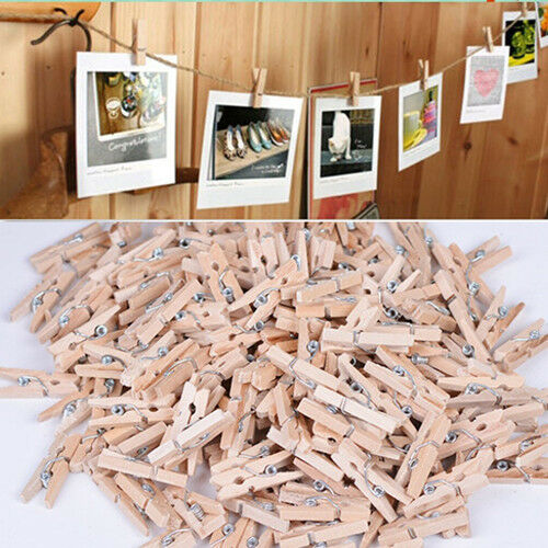 50 x 25MM Mini Natural Wooden Clothe Photo Paper Peg Clothespin Craft Clips OLSU