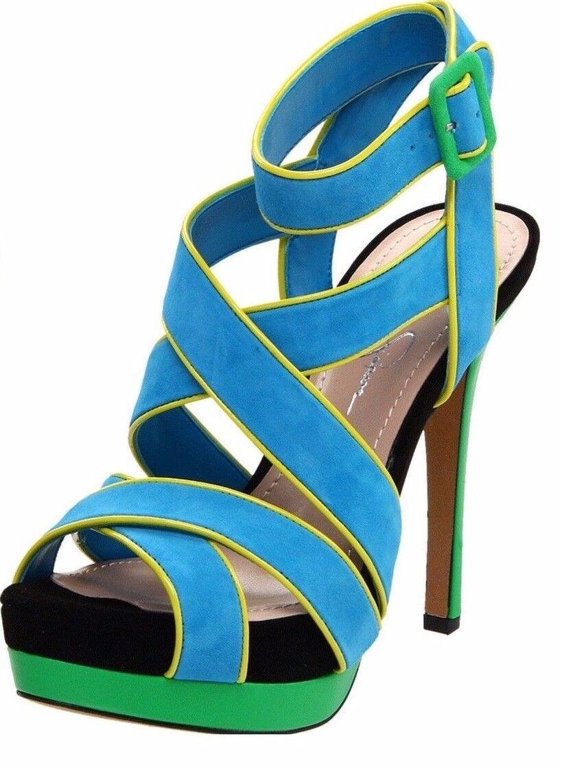 Jessica Simpson EVANGELA Atlantic Blau Suede Strappy Platform Sandal, 6M -  110