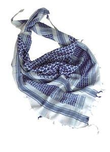 Plo Neckerchief Scarf Palestinian Headwrap Shemagh White/Blue Scarf White Blue