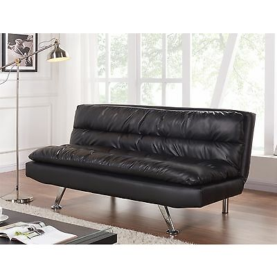 Luxury 3 Seater Sofa Bed Faux Leather Cushioned Black Padded Sofabed Modern New