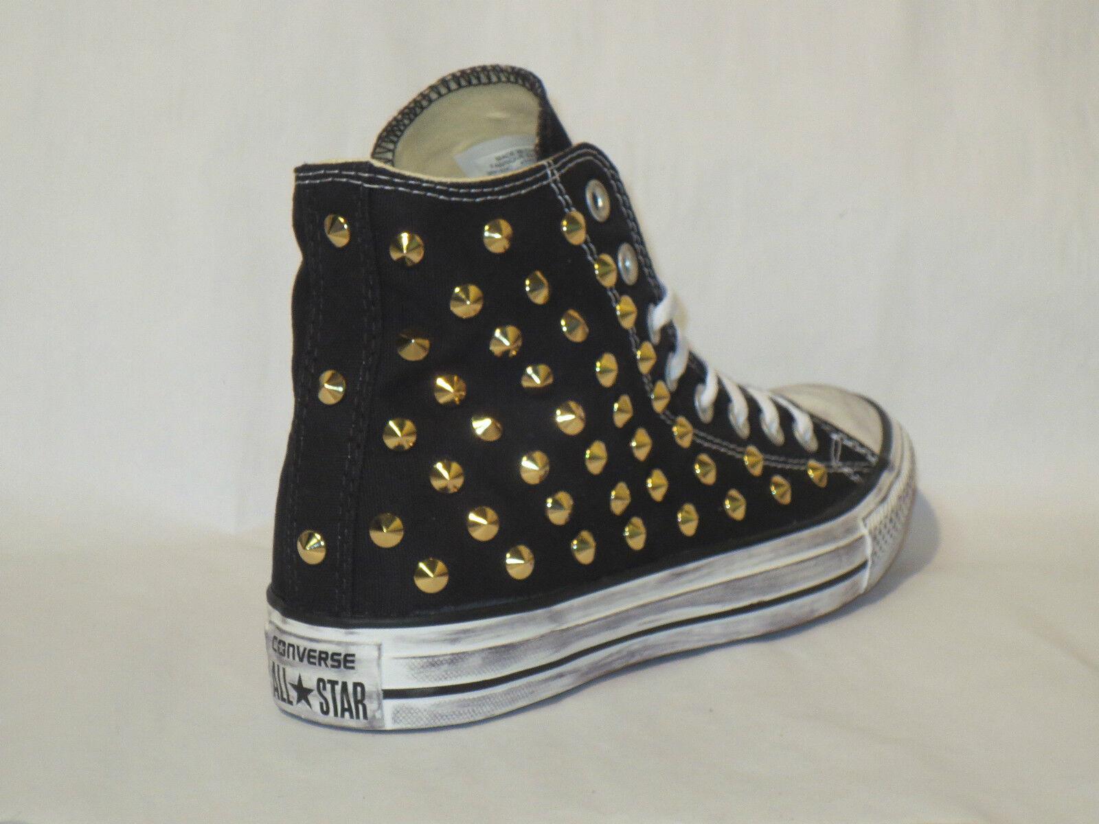 Converse all star Hi borchie nero oro scarpe donna uomo nero borchie artigianali 40efc1