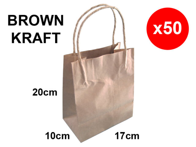 50 BROWN KRAFT PAPER CARRY SHOPPING BAGS WITH HANDLES WEDDING PARTIES GIFTS