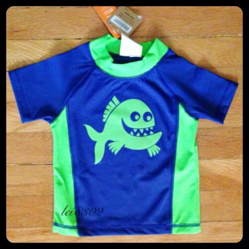 New CRAZY 8 Piranha Swim Rash Guard Short Sleeved Shirt - Boys 18-24 Months