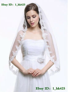 New-1T-Handmade-90cm-lace-Edge-white-ivory-Bridal-Wedding-Veil-With-Comb