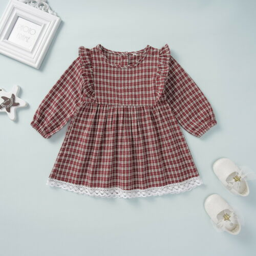 Kids Girls Lace Plaid Dress Long Sleeve Party Wedding Skater Dresses Age 1-6 Y