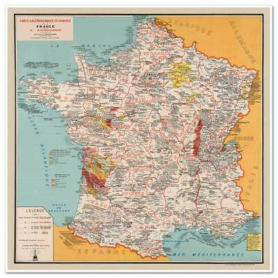 """BIG French Cooking Gourmet MAP of France Carte Gastronomique circa 1932 24/""""x24/"""""""
