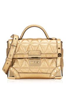 edebc9f4aee219 Michael Kors Crossbody Bag Cori Metallic Gold Small Trunk Crossbody ...