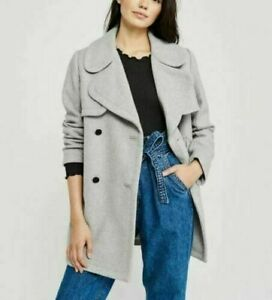 Abercrombie-Womens-Classic-Wool-Blend-Peacoat-Size-XS-Coat-Jacket-Gray-NEW