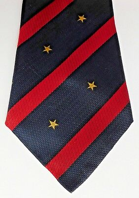 Zodiac vintage striped tie with star motif synthetic Navy Blue Red 1960s 1970s