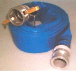 Sun-flow 2 x 50 Blue PVC Lay-Flat Discharge Hose 80 PSI with Aluminum Camlock C and E Fittings