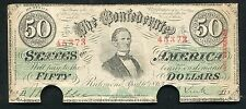 T-57 1863 $50 FIFTY DOLLARS CSA CONFEDERATE STATES OF AMERICA