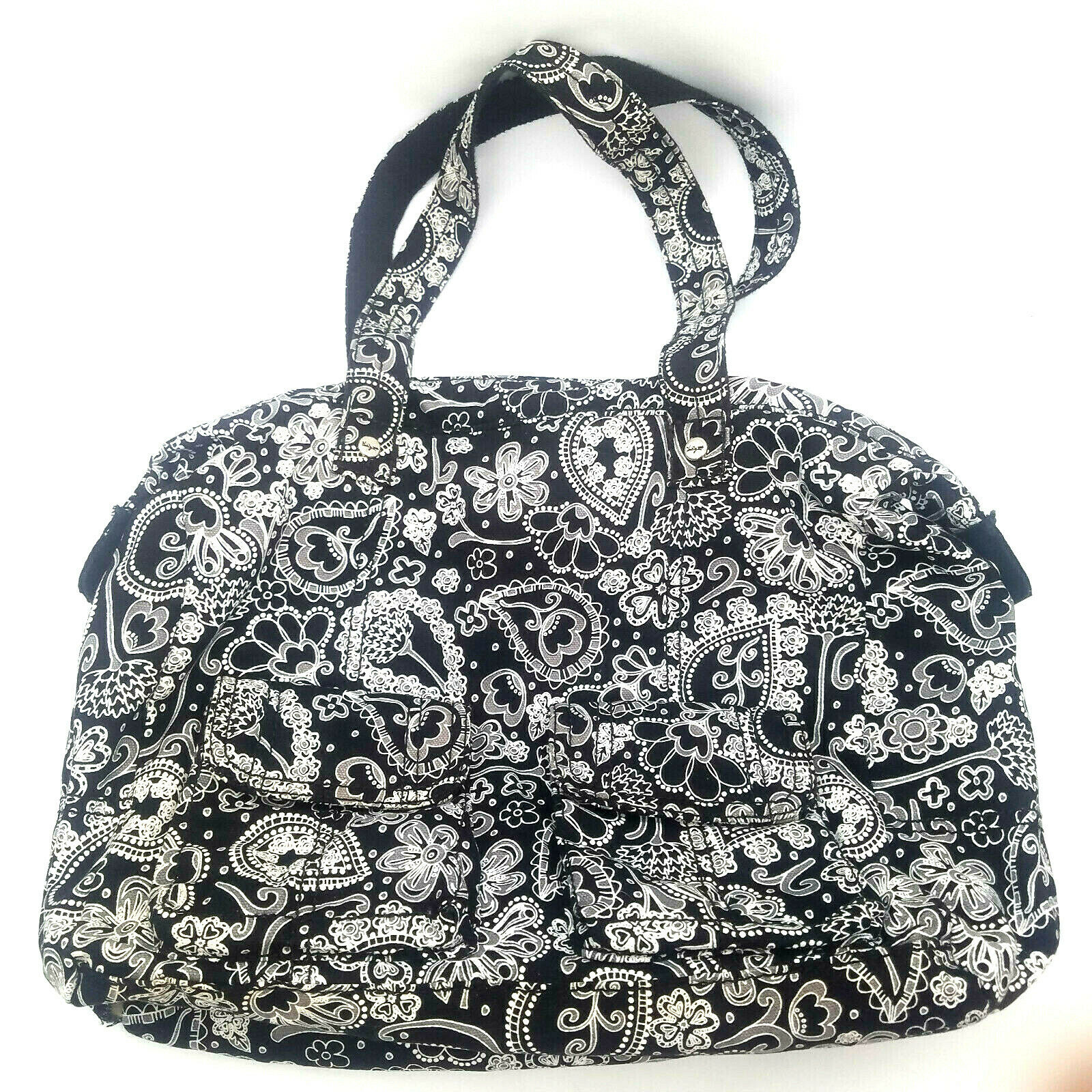 Thirty One Casual Cargo Purse Bag Black Paisley Parade Shoulder Overnight Diaper