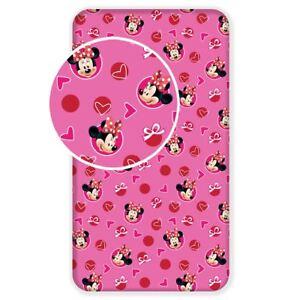 Minnie-Mouse-Coeurs-Drap-Simple-100-Coton-Literie-Enfants