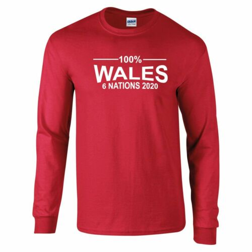 100/% Wales Rugby Six Nations 2020 Long Sleeved T-Shirt Mens
