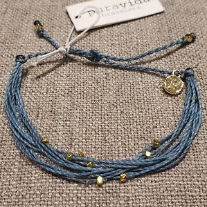 Pura Vida Bracelet: Smokey Blue Malibu w gold color ...