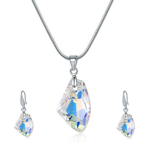 Femme Argent Blanc Aurora Borealis Cristal Collier Pendentif Boucles D/'oreilles Bijoux Set