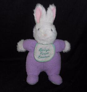 12 Hallmark Baby S First Easter Bib White Bunny Rabbit Stuffed