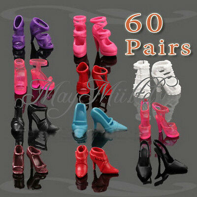 60 Pairs Of Trendy Assorted High Heel Shoes For Barbie Doll Clothe Accessories M