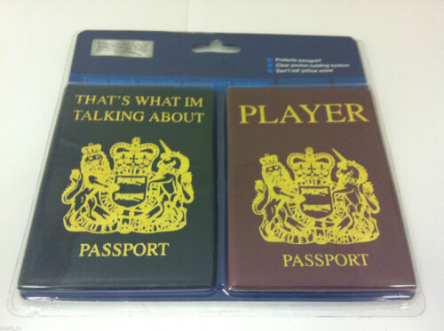 Novelty Passport Cover Holder Twin Pack Talking About Player 2 Colours NEW