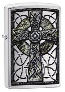 Zippo-29622-Celtic-Cross-Street-Chrome-Finish-Full-Size-New-Lighter