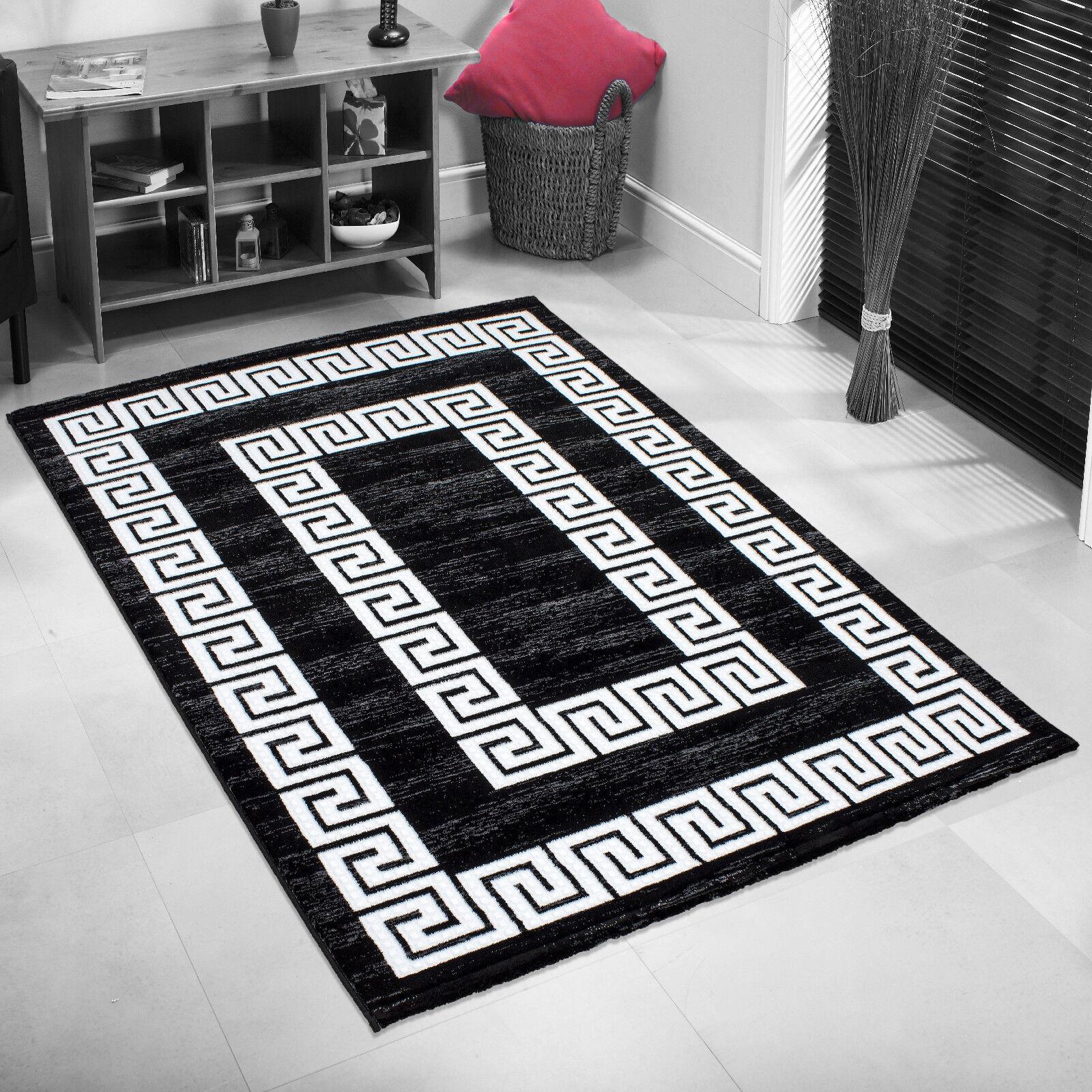 bettumrandung l ufer 3 tlg teppich versace glitzer garn schwarz weiss ebay. Black Bedroom Furniture Sets. Home Design Ideas
