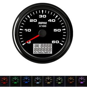 Schwarz-85mm-Boot-Drehzahlmesser-6000-RPM-8-Farbe-LED-mit-Digital-Stundenzaehler