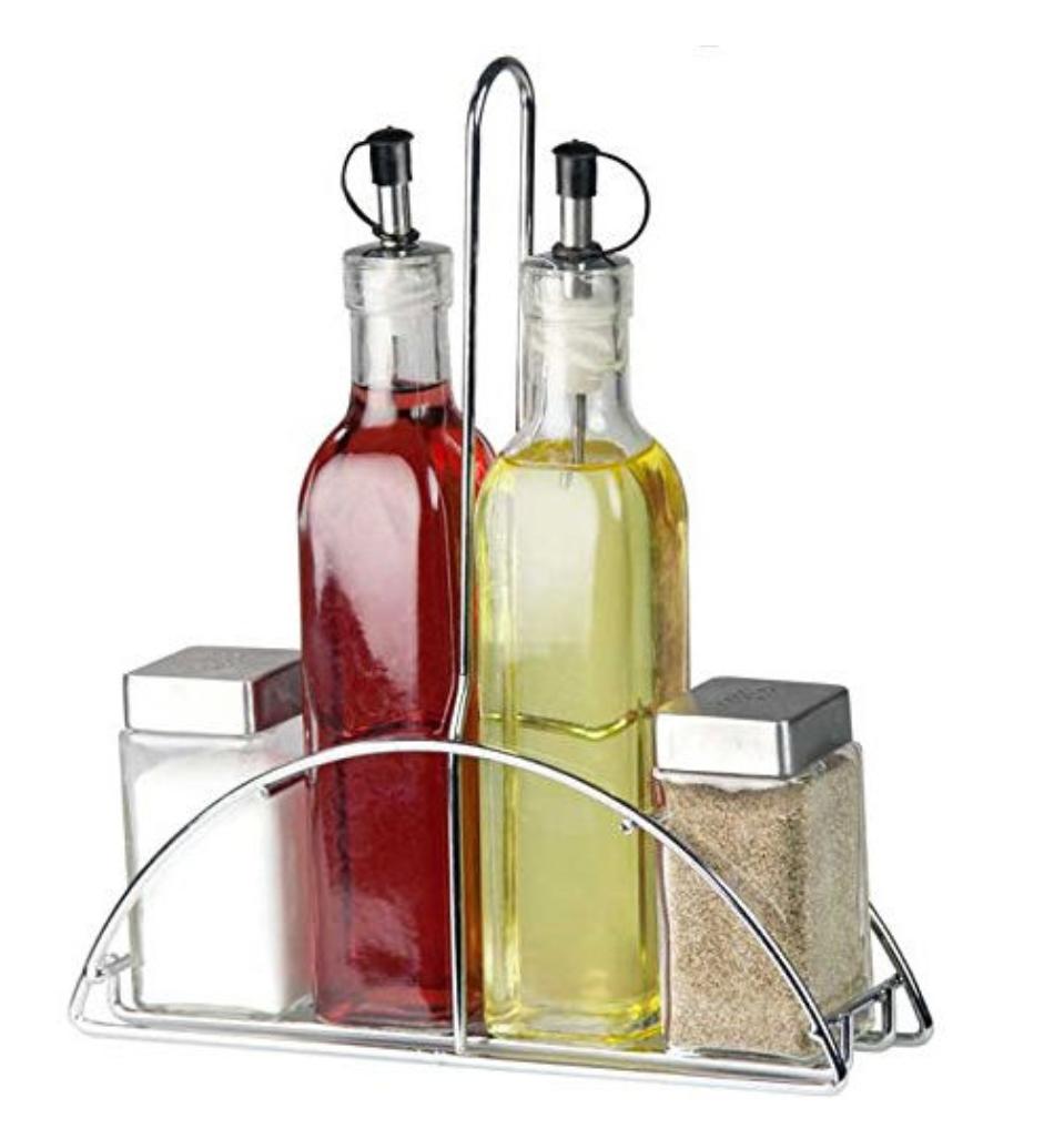 Verre 5PC Salière Poivrière SET SEL POIVRE huile vinaigre support condiment cuisine desservant New