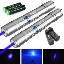 2 Packs 405nm Blue Laser Pointer Pen Zoomable Visible Beam Light 1mw 18650 Lazer