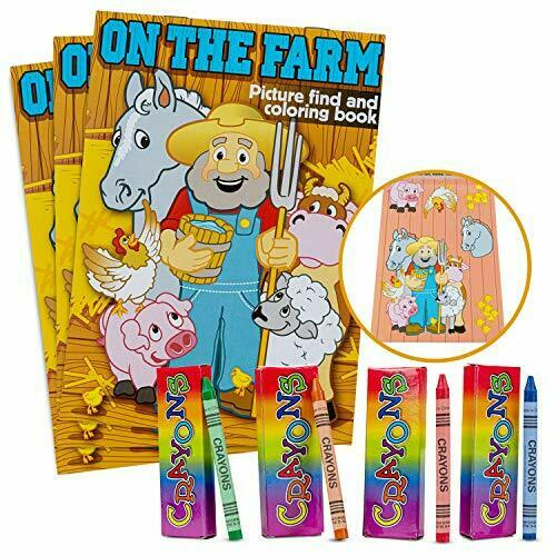 Favonir Party Favor Coloring Books And Crayons 12 Set - Fun Farmer Design  For KI For Sale Online EBay